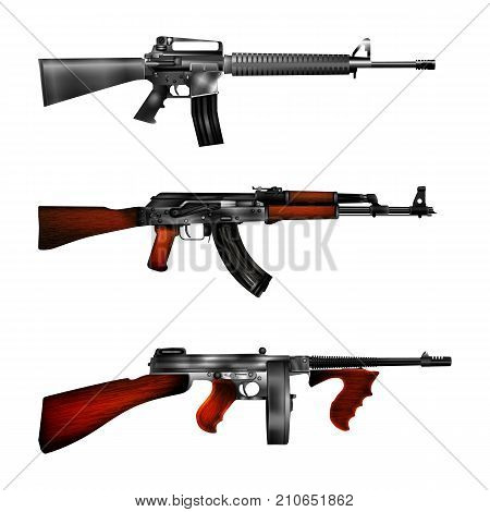 realistic vector automatic weapons American rifle m-16 Russian AK-47 assault rifle and Thompson submachine gun. Right side image.