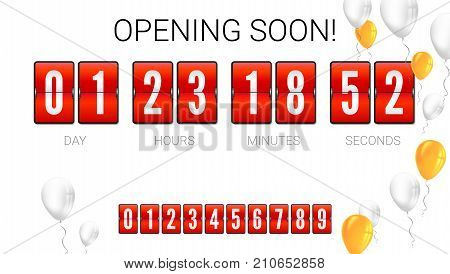 Opening soon, analog flip clock timer, card with flying up inflatable balloons. Template of countdown timer, clock counter. Red mechanical clock for countdown with set of numbers, 3D illustration.
