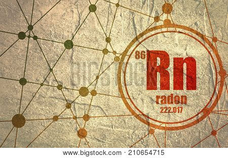 Radon chemical element. Sign with atomic number and atomic weight. Chemical element of periodic table. Molecule And Communication Background. Connected lines with dots. Distress grunge texture