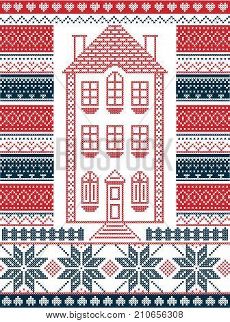 Nordic style and inspired by Scandinavian Christmas pattern illustration in cross stitch in red and white including  gingerbread house,star, fence, decorative seamless ornate patterns in red, blue