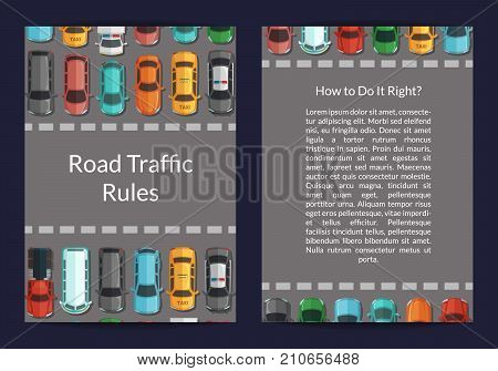 Vector cars on the road in front of pedestrian zone top view card or flyer template illustration