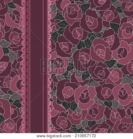 Floral seamless pattern in retro style cute cartoon flowers background