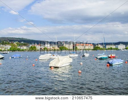 riparian scenery around Lake Zurich in Switzerland