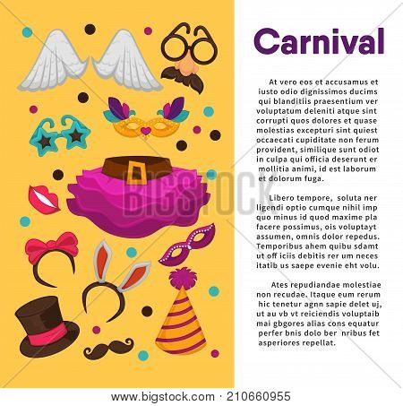 Carnival masks and costume accessories poster template. Vector birthday party carnival mask, witch hat and wig, angel wings or funny nose or mustache glasses, bunny ears and magic hat