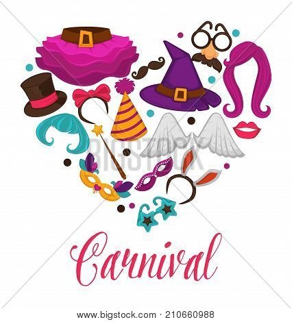 Carnival masks and costume accessories poster in heart shape. Vector flat icons set of birthday party carnival mask, witch hat and magic wig, angel wing or funny nose or mustache glasses and bunny ear