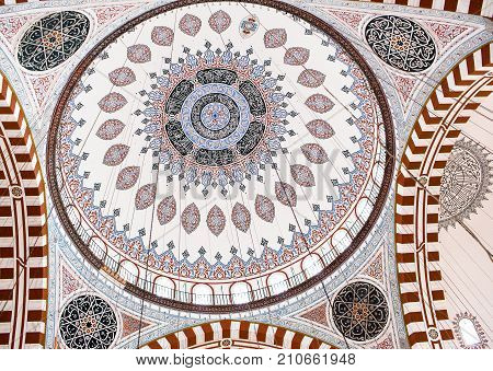 ISTANBUL, TURKEY - OCTOBER 31, 2015: Ceiling decoration of Sehzade Mosque, built in 1548 by Mimar Sinan.