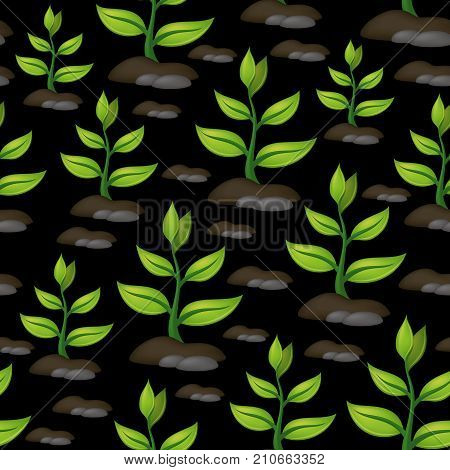 Tile Pattern with Abstract Symbolical Plants with Green Leaves Growing out of the Rocky Ground, Isolated on Black Background. Eps10, Contains Transparencies. Vector