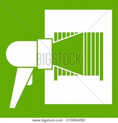 Bar code on cargo icon white isolated on green background. Vector illustration
