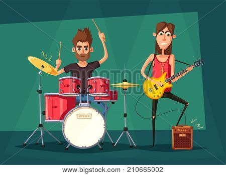 Rock music band. Old school party. Cartoon vector illustration. Vintage style. For print and web. Live festival. For concert promotion in clubs, bars, pubs and public places.
