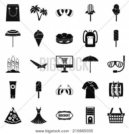 Shopping tour icons set. Simple set of 25 shopping tour vector icons for web isolated on white background
