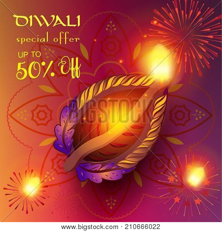 Diwali sale banner with burning diya - oil lamp traditional symbol and happy Diwali Holiday Sale promotion text on abstract fireworks, mandala, decorative background for Deepavali light festival India.