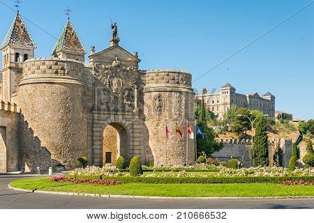 Puerta de Bisagra or Alfonso VI Gate in city of Toledo Spain.