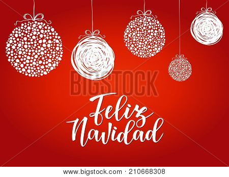 feliz navidad spanish typography lettering holiday greetings spanish quote isolated on white