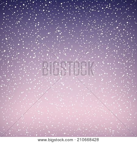 Snowfall at Dawn Snow Falls in the Winter Sky White Snowflakes on Purple Background Vector Illustration