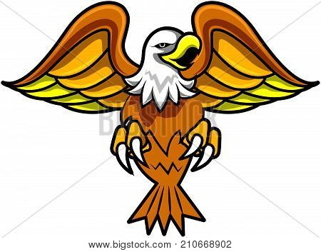 Vector logo of angry eagle spread the wing and claws. Sport team logo.