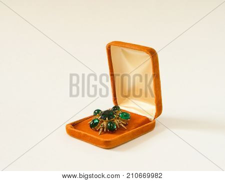 Vintage brooch in a present box on white background. Woman's Jewelry
