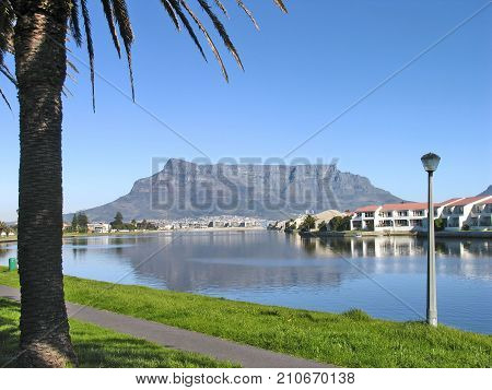 SUMMER LANDSCAPE, WITH A TREE AND A PATH IN THE FORE GROUND AND TABLE MOUNTAIN IN THE BACK GROUND, REFLECTING ACROSS THE WATER