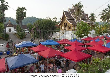 Luang Prabang, Laos - May 2012: Luang Prabang Night Market, Popular Tourist Venue For Souvenirs And