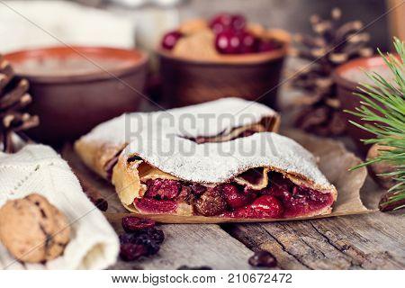 Strudel With A Cherry. Cherry Pie.