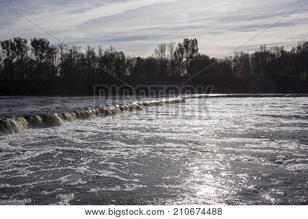 The widest waterfall in Europe in Latvia Kuldiga. River Venta.