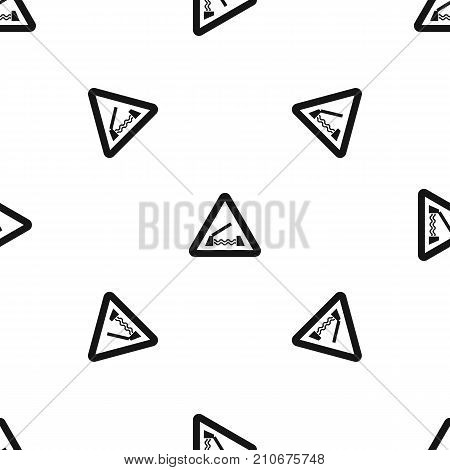 Lifting bridge warning sign pattern repeat seamless in black color for any design. Vector geometric illustration