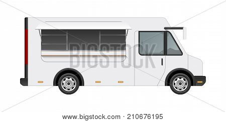 White food truck vector mock up template. Side view of realistic modern delivery service vehicle isolated on white background. Can be used for branding, logo placement, advertising
