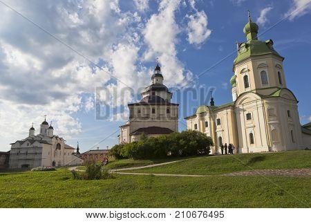 Kirillov, Vologda region, Russia - August 9, 2015: Churches Transfiguration of Our Lord, Archangel Gabriel and Kirill Belozersky in Kirillo-Belozersky monastery Vologda region