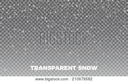 Snow. Vector transparent snow background. Christmas and New Year decoration.
