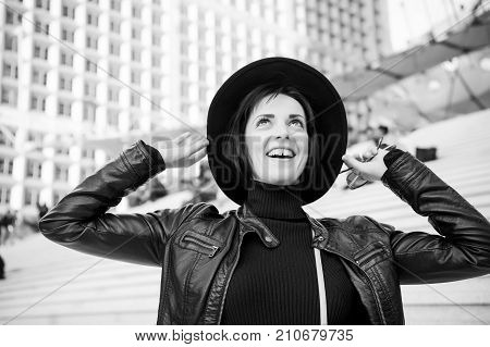 Girl In Fashionable Leather Jacket.