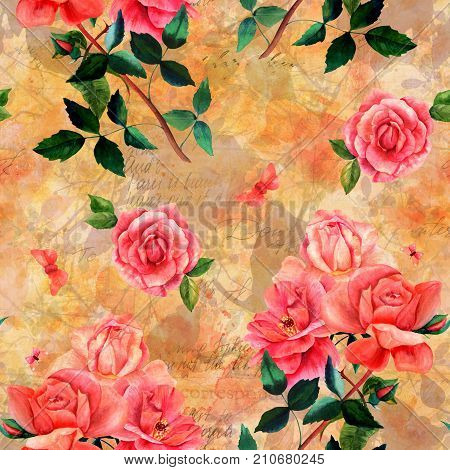 Vintage style collage. Seamless pattern with watercolor drawings of red and pink rose flowers and butterflies, on golden background with leaves and branches, with scraps of old letters and faded texts