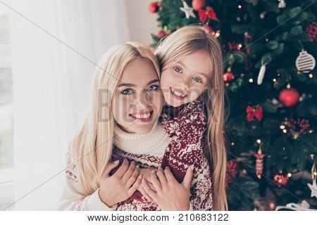 X Mas, Noel, Traditions, Maternity, Motherhood, December, Winter, Magic. Sweet Adorable Blond In Kni