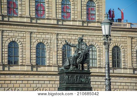 King Maximilian Joseph regal bronze statue at Max Joseph square  decorated with a bas-relief and supported by four lions. Monument Max Joseph in Munich in Bavaria