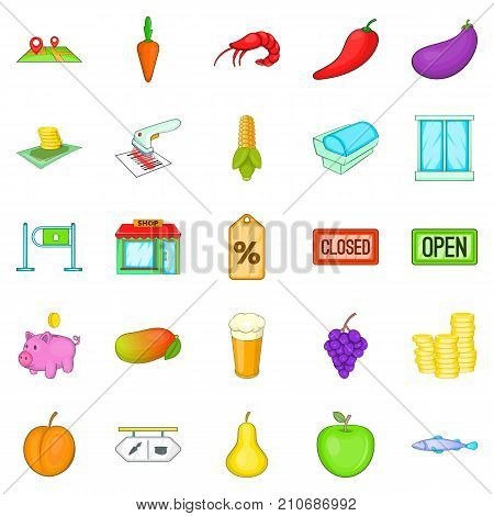 Food court icons set. Cartoon set of 25 food court vector icons for web isolated on white background