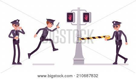 Young policeman investigating crimes in city public place, having coffee break, unrolling danger line. Vector flat style cartoon illustration isolated on white background