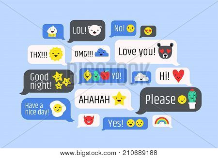 Cloud of messages with cute emoji. Speech bubbles with text and smileys. Ideograms or funny symbols to express different emotions in electronic chatting or messaging. Colorful vector illustration
