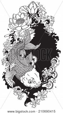 Japanese koi gold vector photo free trial bigstock lotus flower with water splash and feng shui money coins mightylinksfo
