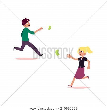 vector flat cartoon girl and boy running for money. Female, male Clerk, office worker woman, man in skirt chasing, trying to catch for dollar note. Isolated illustration on a white background.
