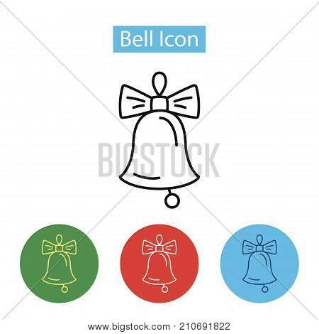 Christmas bell with bow decoration icon. Jingle bells simbol. Winter holidays vector illustration, line style. Editable stroke.