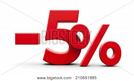 Red minus five percent sign isolated on white background three-dimensional rendering 3D illustration