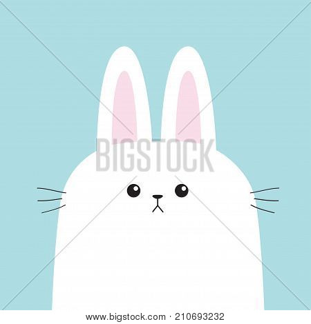 White bunny rabbit head face with moustaches. Big ears. Cute cartoon character. Baby greeting card template. Happy Easter sign symbol. Blue background. Flat design. Vector illustration