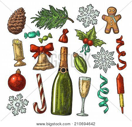 Merry Christmas and New Year set. Gingerbread man, candy, mistletoe, bell, toy, serpentine, rocket, snowflake, champagne, pine cone, fir branch, toy. Vector vintage color engraving isolated on white