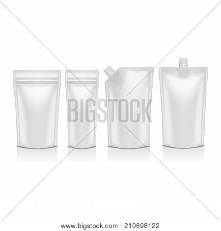Set of blank plastic doypack stand up pouch with spout. Flexible packaging mock up for food or drink for your design