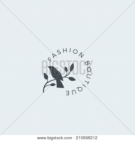 Fashion Boutique Abstract Vector Sign, Symbol or Logo Template. Bird on a Branch Silhouette with Modern Typography. Premium Quality Feminine Emblem. Good for Beauty Salon, SPA, Wedding Boutiques, etc. Isolated.