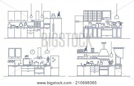 Set of kitchens furnished with modern furniture, household appliances, cooking facilities and home decorations. Bundle of comfy interiors drawn in line art style. Monochrome vector illustration