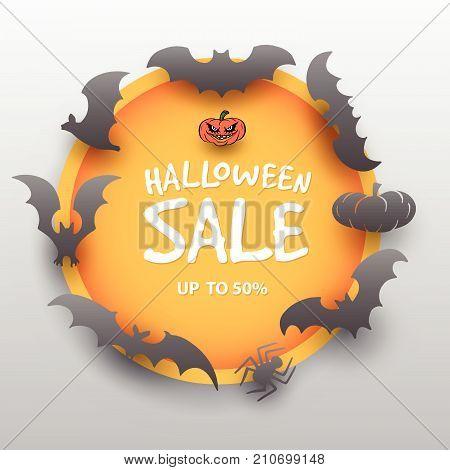 Halloween sale offer design template. Halloween sale lettering over orange circle with bats. Cartoon style vector illustration