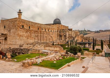 Scenic view of Al-Aqsa Mosque in Old City of Jerusalem, Israel