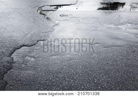 Street Asphalt In Bad Condition