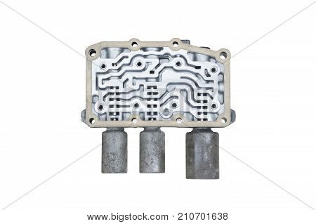 Interior view of old Transmission Linear Shift Solenoid. transmission parts controller of car engine. Isolated on white background. Automotive parts concept.