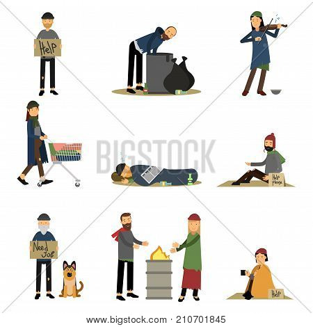 Homeless people and vagabonds begging money, needing help set of cartoon vector illustrations isolated on a white background