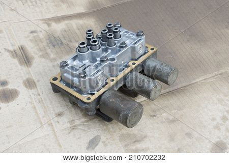 Interior view of old Transmission Linear Shift Solenoid. transmission parts controller of car engine. Automotive parts concept.